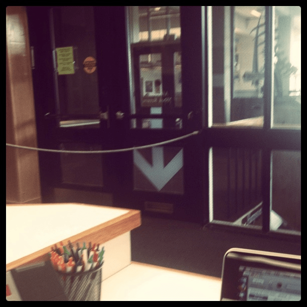 View of the library entrance at Hampshire College from the InfoBar