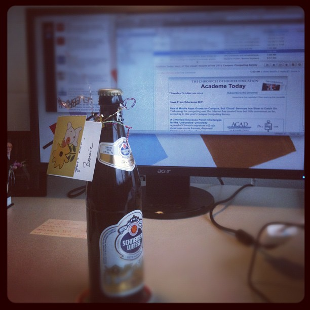 A bottle of beer on my desk at Hampshire College, 2011, a gift from my colleague Bonnie