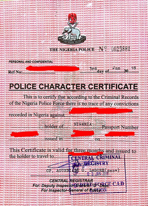 Nigeria Police Character Certificate