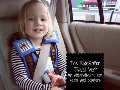 Review of The RideSafer travel vest. Great, safe and easy way to avoid traveling with carseats and boosters.