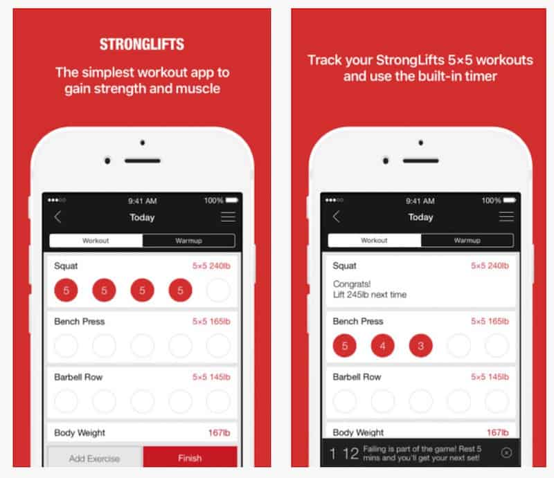 Top Fitness Apps: Strong Lifts 5x5