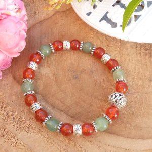 bracelet cornaline et aventurine avec perle centrale ajourée pour femme