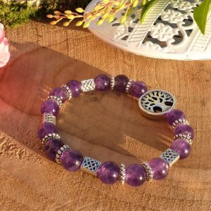 bracelet améthyste arbre de vie pour Femme
