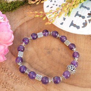 Bracelet améthyste celtique et perle centrale ajourée pour Femme