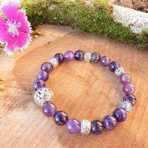 Bracelet améthyste et perle centrale ajourée pour Femme