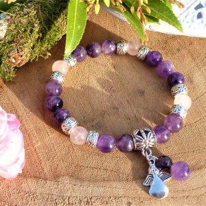 Bracelet améthyste et quartz rose, avec breloque ange pour Femme fait main.