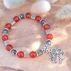 bracelet celtique cornaline hématite arbre de vie courage confiance créativité protection