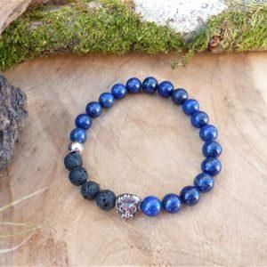 bracelet communication homme lapis lazuli lave lion