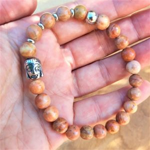 bracelet homme tibétain bois fossile bouddha acier inox ancrage calme énergie