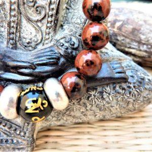 bracelet homme obsidienne acajou et noire protection force
