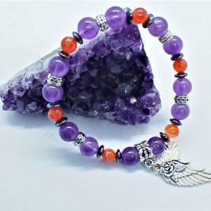 bracelet vive la vie améthyste cornaline hématite arbre de vie aile rose violet orange gris apaisement protection paix sérénité1