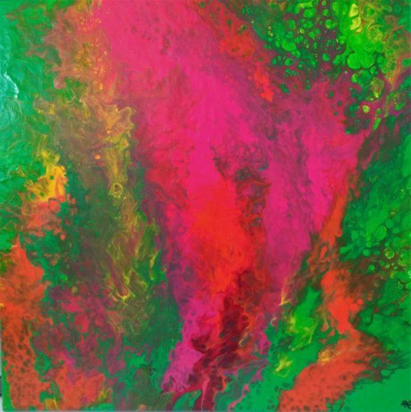 catherine péron peinture acrylique pouring rose vert jaune