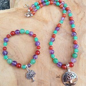 collier améthyste cornaline aventurine arbre de vie acier inox courage créativité confiance