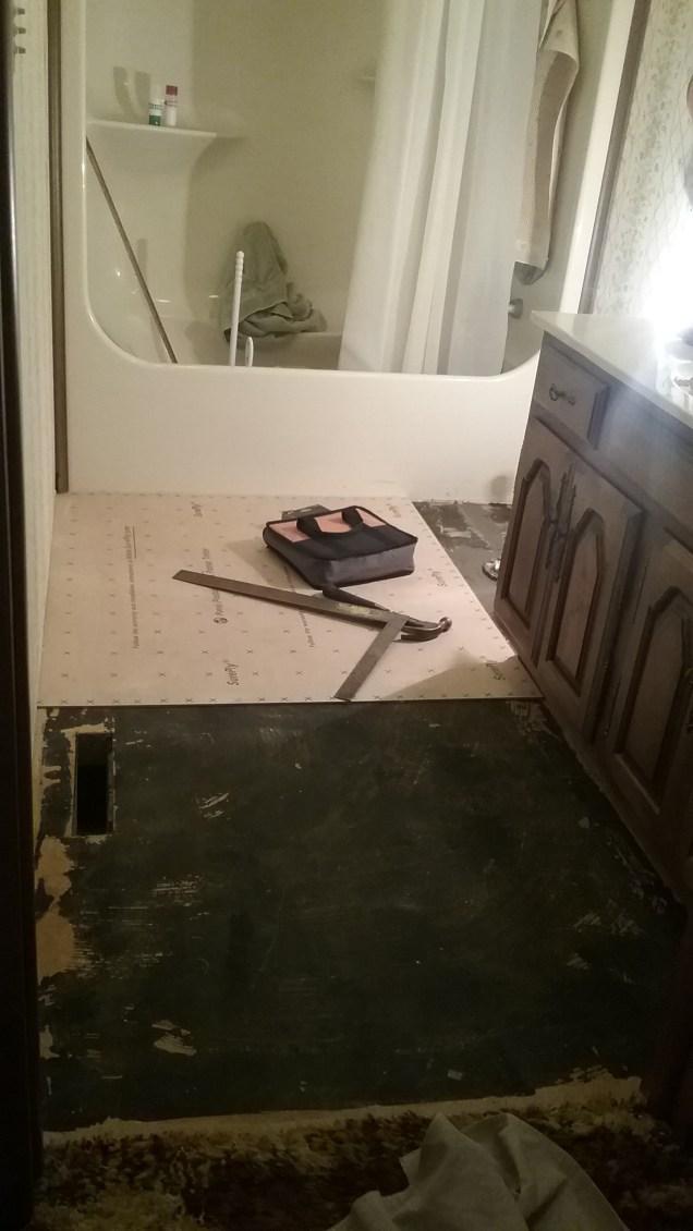 During Installation of IVC Vinyl Flooring.