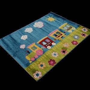 שטיח לחדרי ילדים רכבת כחול (3)