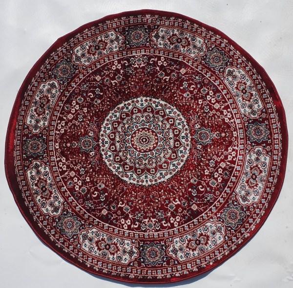 שטיח קלאסי עגול צבע אדום