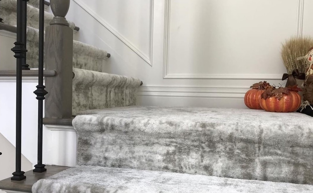How Carpet Makes Stairs Safer Quieter And Prettier Carpet   Stanton Carpet Stair Runners   Light Grey   Craftsman   Stairway   Leopard   Popular