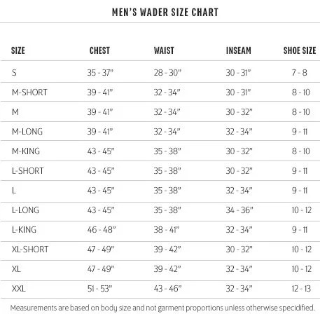 Example Wader Size Guide