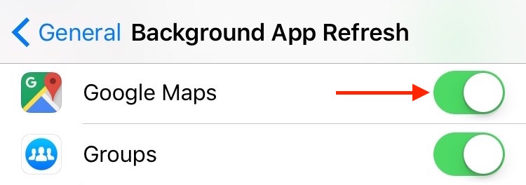 5. Settings General Background App Refresh Google Maps