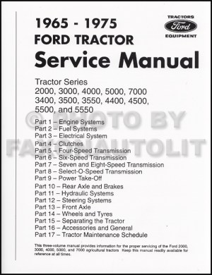 19651975 Ford Tractor Repair Shop Manual Reprint 2000