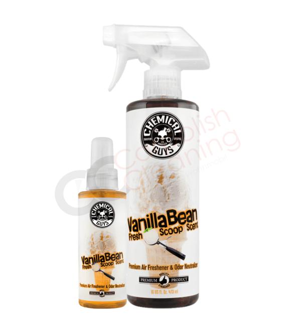 Duftspray von Chemicalguys Duftrichtung Vanille grosse und kleine Flasche