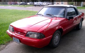 93 Red Convertible Mustang
