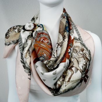 Napoleon Hermes Silk Scarf with Anneau Classique Horn Scarf Ring