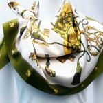 Les Cles HERMES Paris Vintage Scarf Olive