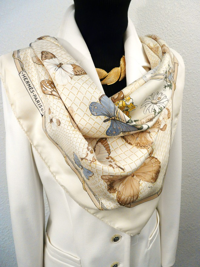 Authentic Hermes Silk Scarf Farandole by Caty Latham Beige Lt Blue