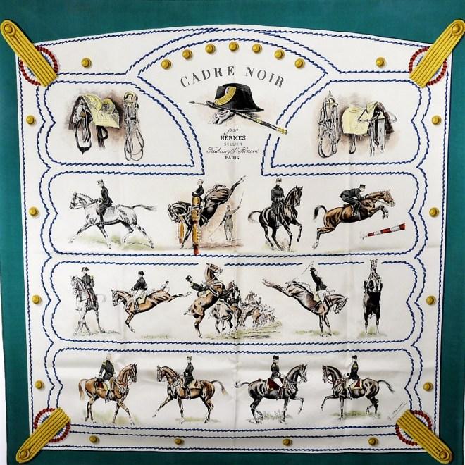 Cadre Noir Vintage HERMES Paris Silk Scarf (1)