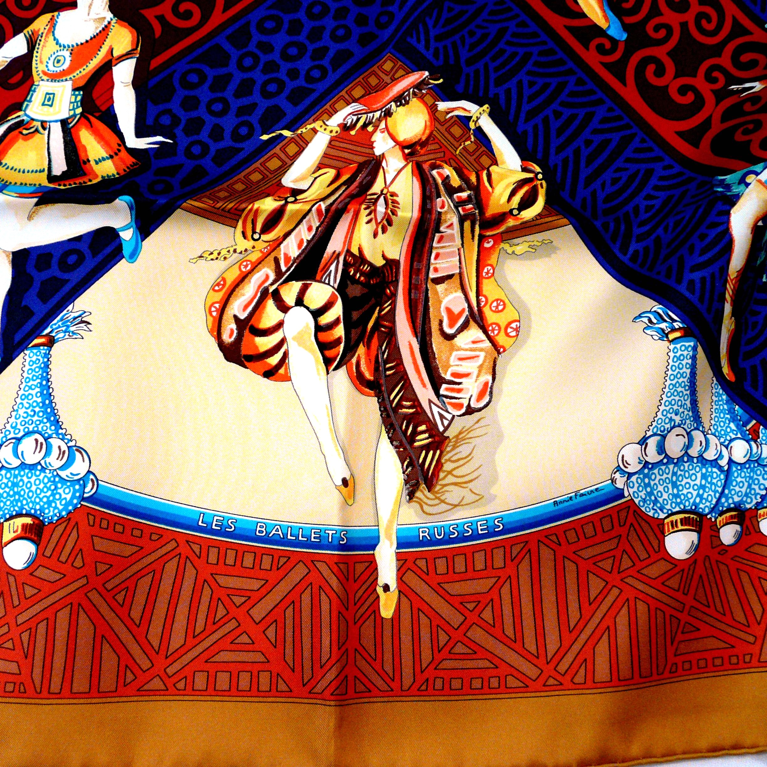 Les Ballets Russes HERMES 36 inch x 36 inch Silk Twill Carre Artist Signature