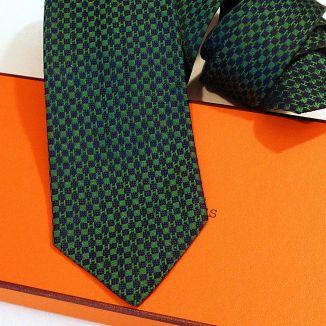 Hermes Silk Tie Faconnee Jacquard Raised H Green Navy