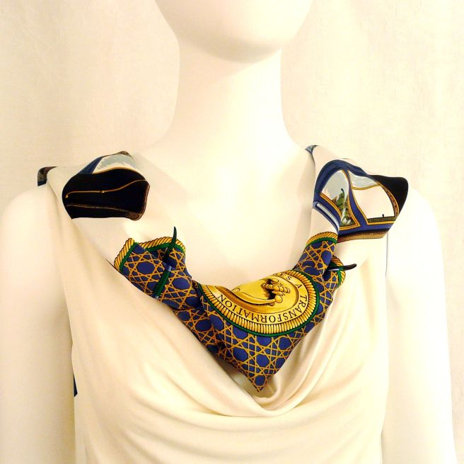 Les Voitures a Transformation HERMES Foulard worn as a necklace