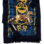 Mors et Gourmettes HERMES Long 2 Sided Shawl