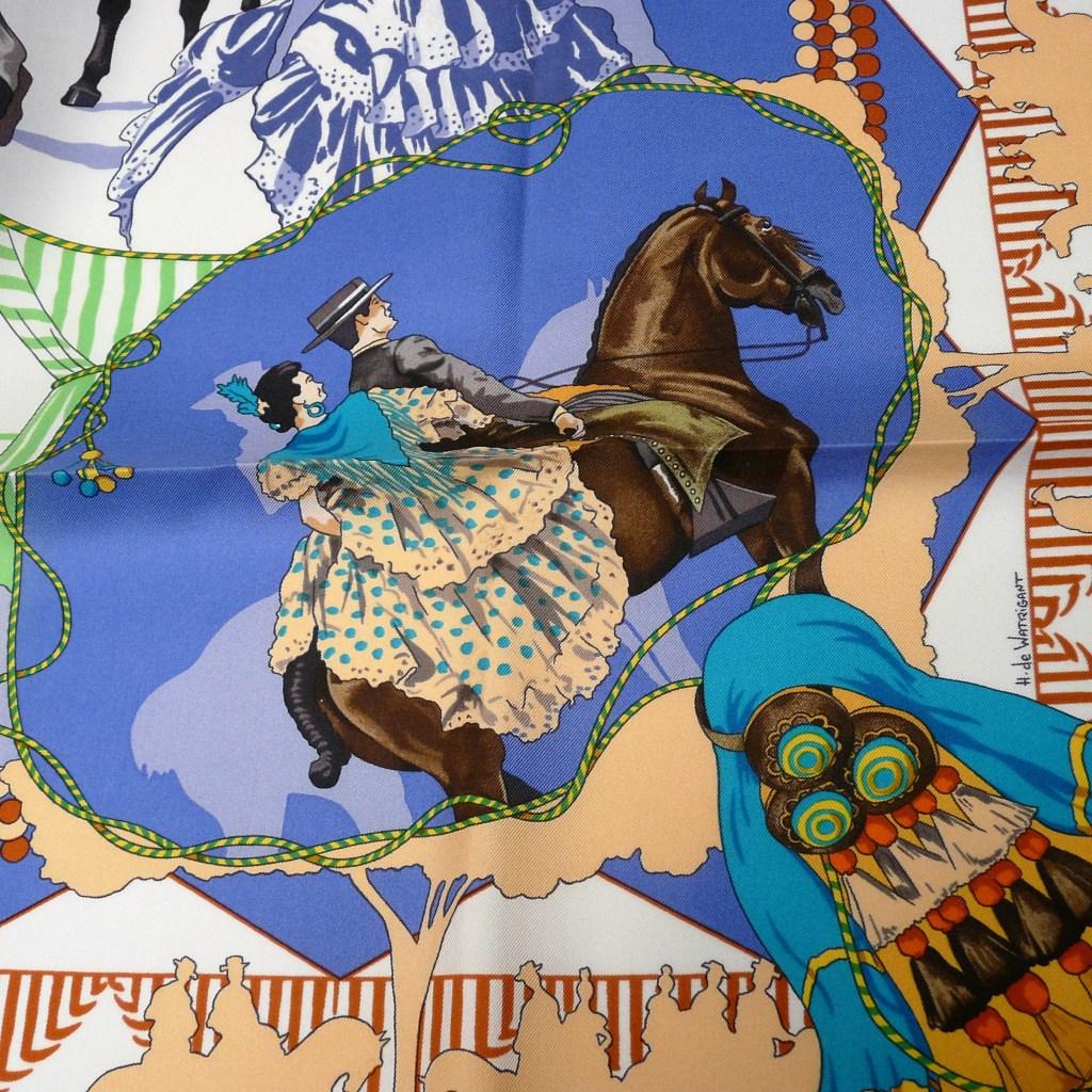 Feria de Sevilla HERMES 36 inch Silk Scarf detail