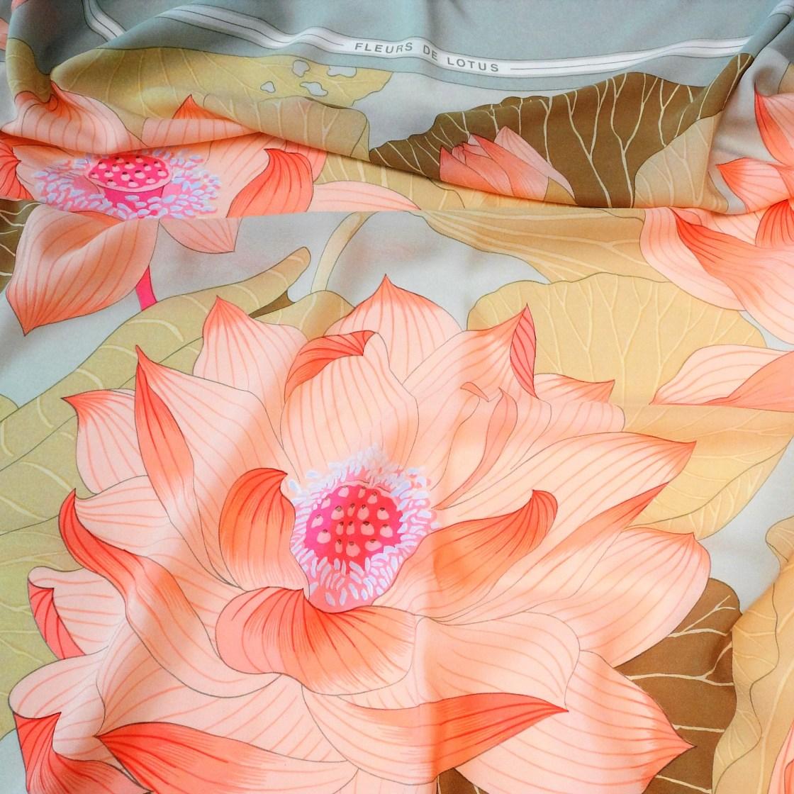 Fleurs de Lotus HERMES 140 Silk Chiffon Shawl