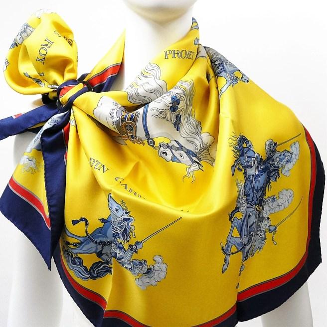 Authentic Vintage Hermes Silk Scarf Carrousel By Christiane Vauzelles Rare w/BOX Bolduc ribbon