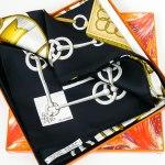Authentic Vintage Hermes Silk Scarf Cliquetis UNWORN w/BOX and Bolduc Ribbon