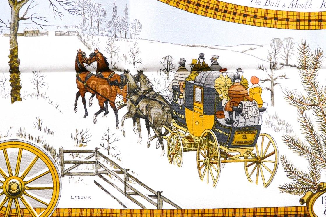 L'Hiver en Poste HERMES Vintage Silk Scarf by Carre de Paris