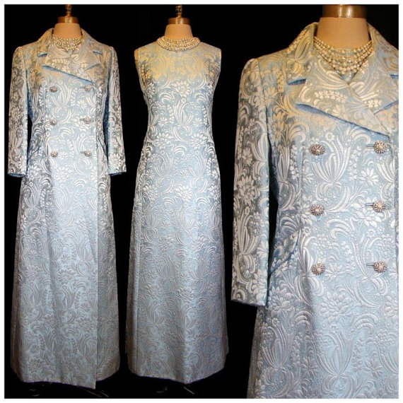 1960s brocade dress and matching coat courtesy labellevintage on etsy