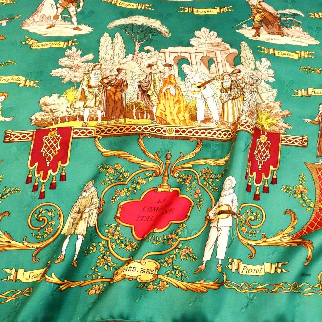 La Comedie Italienne HERMES Silk Jacquard with Lute and Guitar pattern