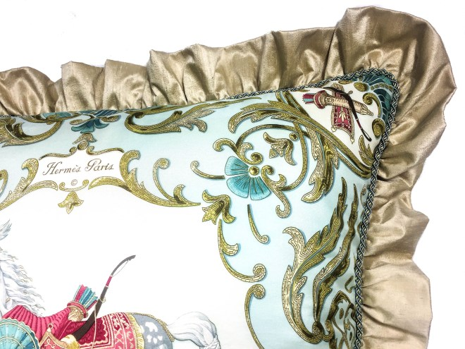 Cheval Turc Upcycled HERMES Silk Scarf Pillow-11 (2)