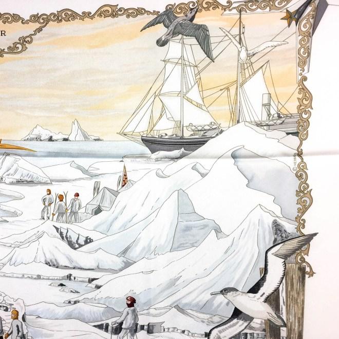 Hommage a l'Explorateur Sir Ernest Shackleton HERMES Grail Silk Scarf