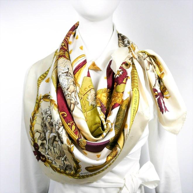 Napoleon HERMES Silk Jacquard Scarf BEIGE-8