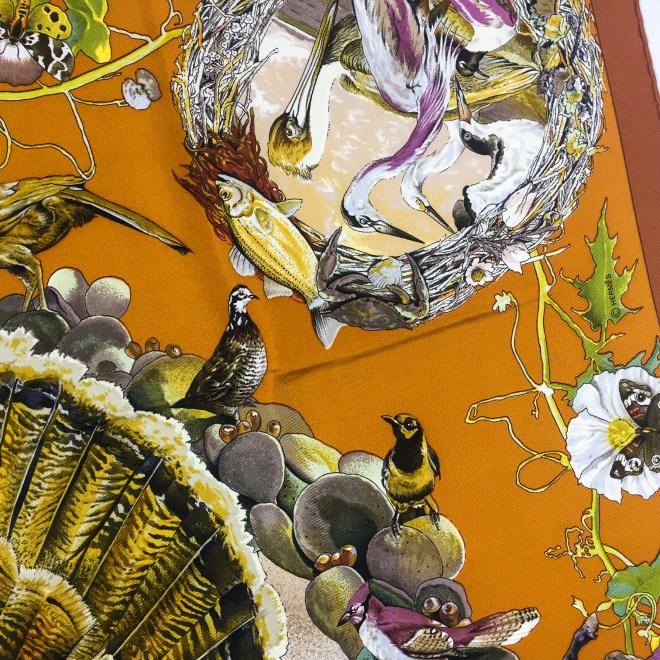 Faune et Flore Du Texas - Texas Wildlife RARE HERMES Silk Scarf (3)