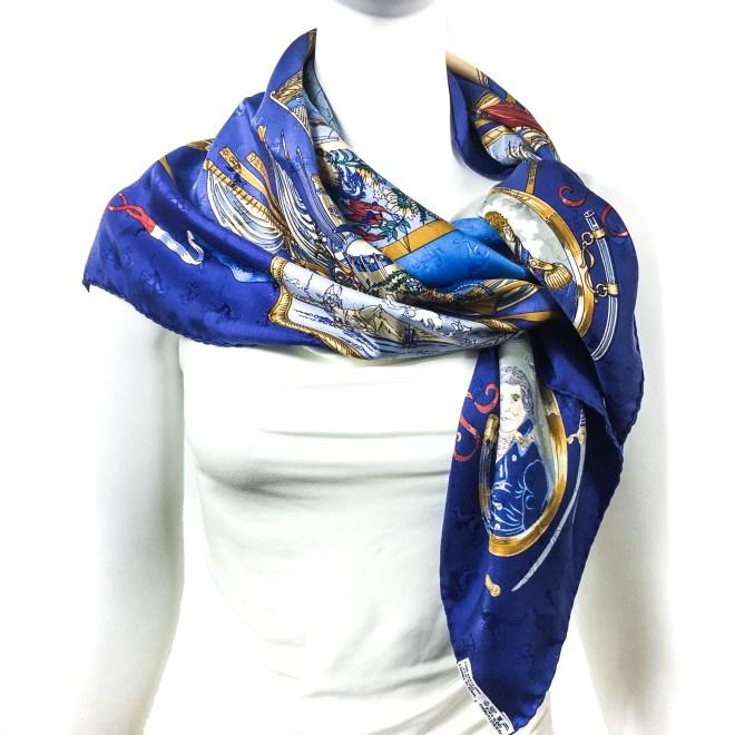 Geogrape HERMES Silk Jacquard Scarf Blue-2