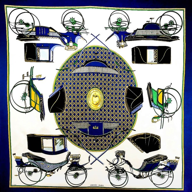 Les Voitures a Transformation HERMES Silk Scarf-3