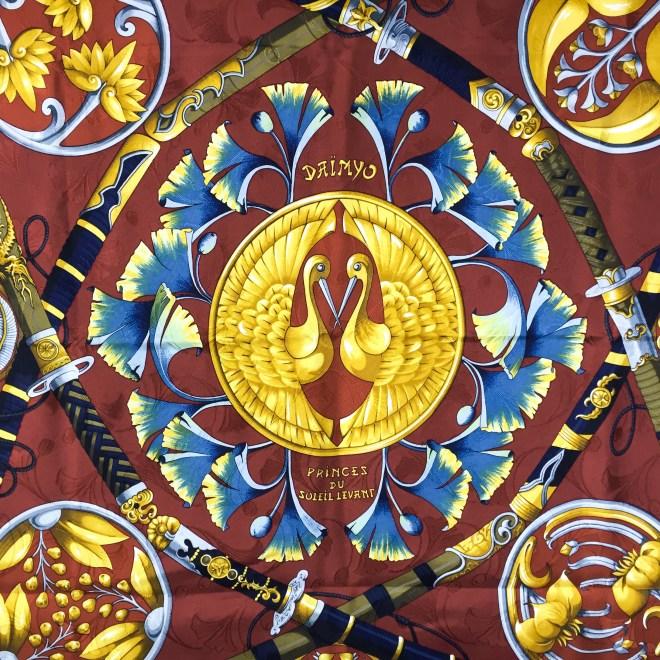 Daimyo - Princes Du Soleil Levant Vintage Hermes Silk Jacquard Scarf-5