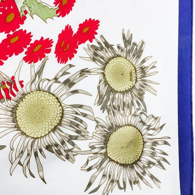 Fleurs et Carlines Vintage Hermes Silk Scarf-5