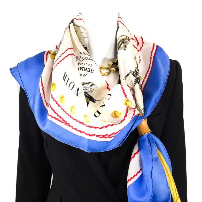 Hermes Silk Scarf Cadre Noir RARE